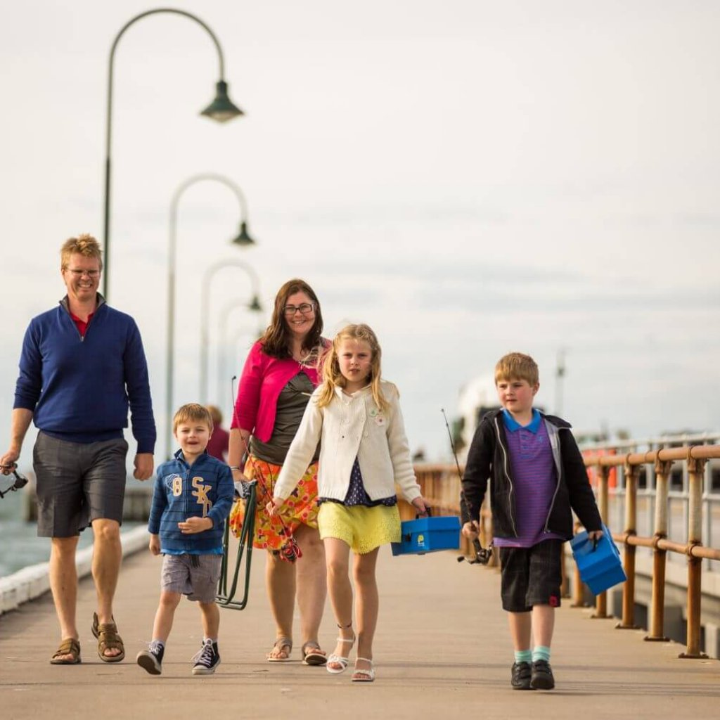 Family out and about in Port Phillip